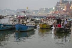 Embankment of the Ganges River in Varanasi, India,. November 2016 royalty free stock photos