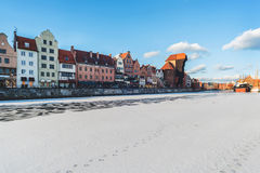 Embankment in Gdans in winter time. Gdansk, city in Poland, Europe in the winter time, floe and ice on the Motlawa river Royalty Free Stock Photography