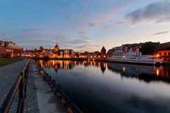 Embankment of Gdansk at sunset, Poland Royalty Free Stock Image
