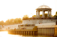 Embankment in gold.  Rotunda Royalty Free Stock Images