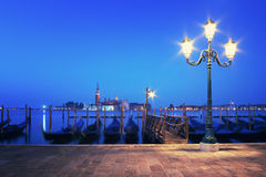Embankment of Grand Canal at night, Venice, Italy Stock Images