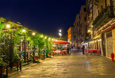 Embankment of Grand Canal in Venice at night Royalty Free Stock Photo