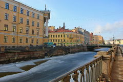 Embankment of the Griboedova channel. Russia, Saint-Petersburg, 12 March 2017 Royalty Free Stock Photography