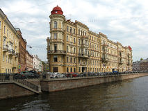 The embankment of the Griboyedov canal, St. Petersburg. Beautiful building on the Griboyedov canal embankment. City center. Saint Petersburg, Russia. Tourism in Stock Photo
