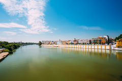Embankment Of The Guadalquivir River In The City Of Seville, And. Alusia, Spain. Sunny Summer Cityscape stock photos