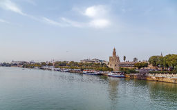 The embankment of the Guadalquivir river, Seville. The embankment of the Guadalquivir river in Seville with Torre del Oro, Spain stock photos