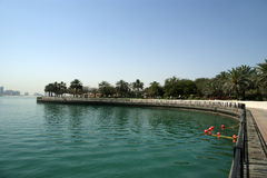 Embankment of the Gulf of Oman. Al Mamzar Beach and Park. Dubai Royalty Free Stock Photo
