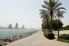 Embankment of the Gulf of Oman. Al Mamzar Beach and Park Stock Image