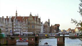 Embankment of Hanseatic port city Gdansk in Poland stock footage