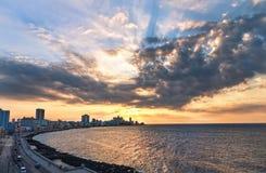 Embankment of Havana Malecon. Cuba, Atlantic ocean Stock Image