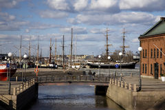 The embankment in Helsinki, Finland. View of the embankment with the moored yachts in Helsinki, Finland stock photos