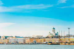 Embankment In Helsinki At Summer Day, Finland. View From Sea. Royalty Free Stock Photography