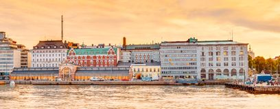 Embankment In Helsinki At Summer Sunset Evening Royalty Free Stock Photography