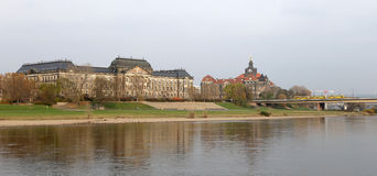 Embankment in the historic center of Dresden, Germany Royalty Free Stock Photo