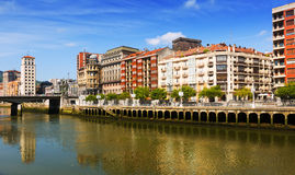 Embankment of Ibaizabal river. Bilbao, Spain. Embankment of Ibaizabal river with Railway station. Bilbao, Spain royalty free stock photography