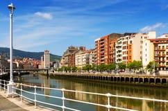 Embankment of  Ibaizabal river. Bilbao, Spain Stock Photos