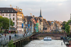 Embankment of the Ill river in Strasbourg, Alsace, France Royalty Free Stock Photos