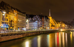 Embankment of the Ill river in Strasbourg - Alsace Royalty Free Stock Photo