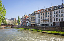 Embankment of Ill river in Strasbourg, France Stock Photos