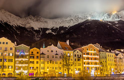 The embankment of Innsbruck at night Stock Photos