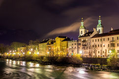 The embankment of Innsbruck at night Stock Image