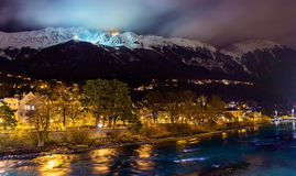 The embankment of Innsbruck at night Royalty Free Stock Photography