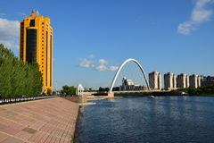 Embankment of the Ishim river in Astana Stock Photo
