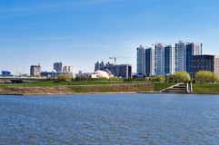 Embankment on the Ishim River in Astana Royalty Free Stock Photos