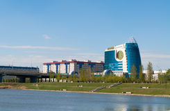 Embankment on the Ishim River in Astana Royalty Free Stock Images
