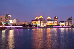 Embankment of the Ishim river in the evening. Astana. Kazakhstan Royalty Free Stock Image