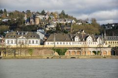 Embankment in Koblenz. Embankment of Koblenz, a city situated on both banks of the Rhine at its confluence with the Moselle, Germany Stock Photos