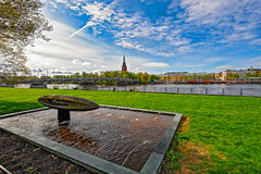 Embankment of Kokemanjoki river in Pori, Finland Royalty Free Stock Photo