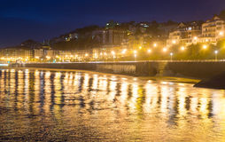 Embankment  of La Concha in  autumn night at Donistia Stock Images