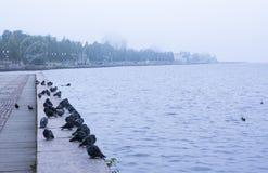 Embankment of lake Onega in Petrozavodsk city Royalty Free Stock Photo