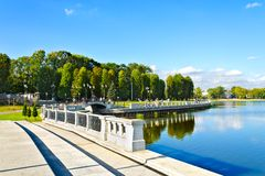 Embankment of lake Verhnee (until 1949 Oberteich). Kaliningrad (until 1946 Koenigsberg), Russia Stock Photography