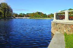 Embankment of lake Verhnee (until 1949 Oberteich). Kaliningrad (until 1946 Koenigsberg), Russia Stock Photo