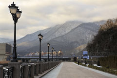 Embankment with lanterns at the Rosa Khutor Alpine Royalty Free Stock Photos