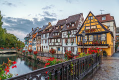 Embankment of  Lauch River, Colmar, France. Embankment of  Lauch River with historical houses in Colmar, Alsace, France Stock Photos