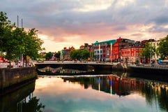 Embankment of Liffey River in Dublin, Ireland royalty free stock photography