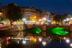 Embankment of Liffey River in Dublin, Ireland Royalty Free Stock Photos