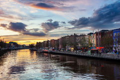 Embankment of Liffey River in Dublin, Ireland Royalty Free Stock Photography