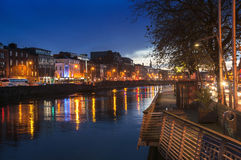 Embankment of Liffey River in Dublin at night Royalty Free Stock Images