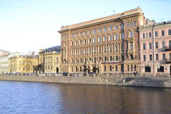 Embankment. In the light of the evening sun on the streets of St. Petersburg Stock Photography
