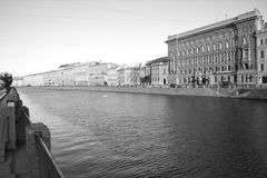 Embankment. In the light of the evening sun on the streets of St. Petersburg Royalty Free Stock Photography