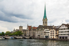 Embankment of Limmat river, Zurich Royalty Free Stock Images