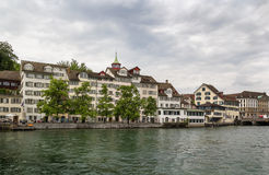 Embankment of Limmat river, Zurich Stock Image
