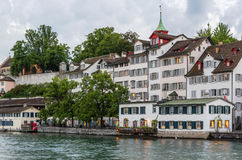 Embankment of Limmat river, Zurich Royalty Free Stock Photo