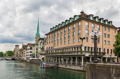 Embankment of Limmat river, Zurich Royalty Free Stock Photography