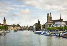 Embankment of Limmat river in Zurich. Switzerland Royalty Free Stock Photography