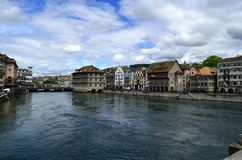 Embankment of the Limmat River, Zurich, Switzerland stock photo